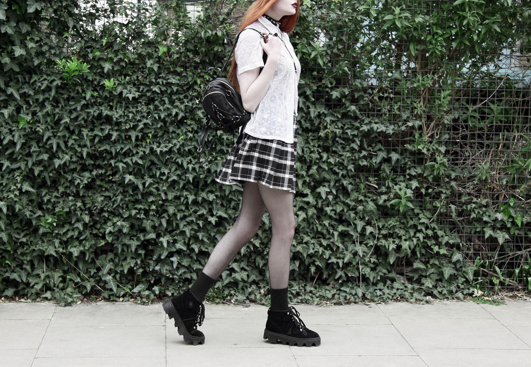 Olivia Emily wears Asos Eyelet Beret, Seconhand Blouse, Asos x Le Kilt collab plaid skirt, unif bound mini backpack, Underground Jungle Evolution Boots