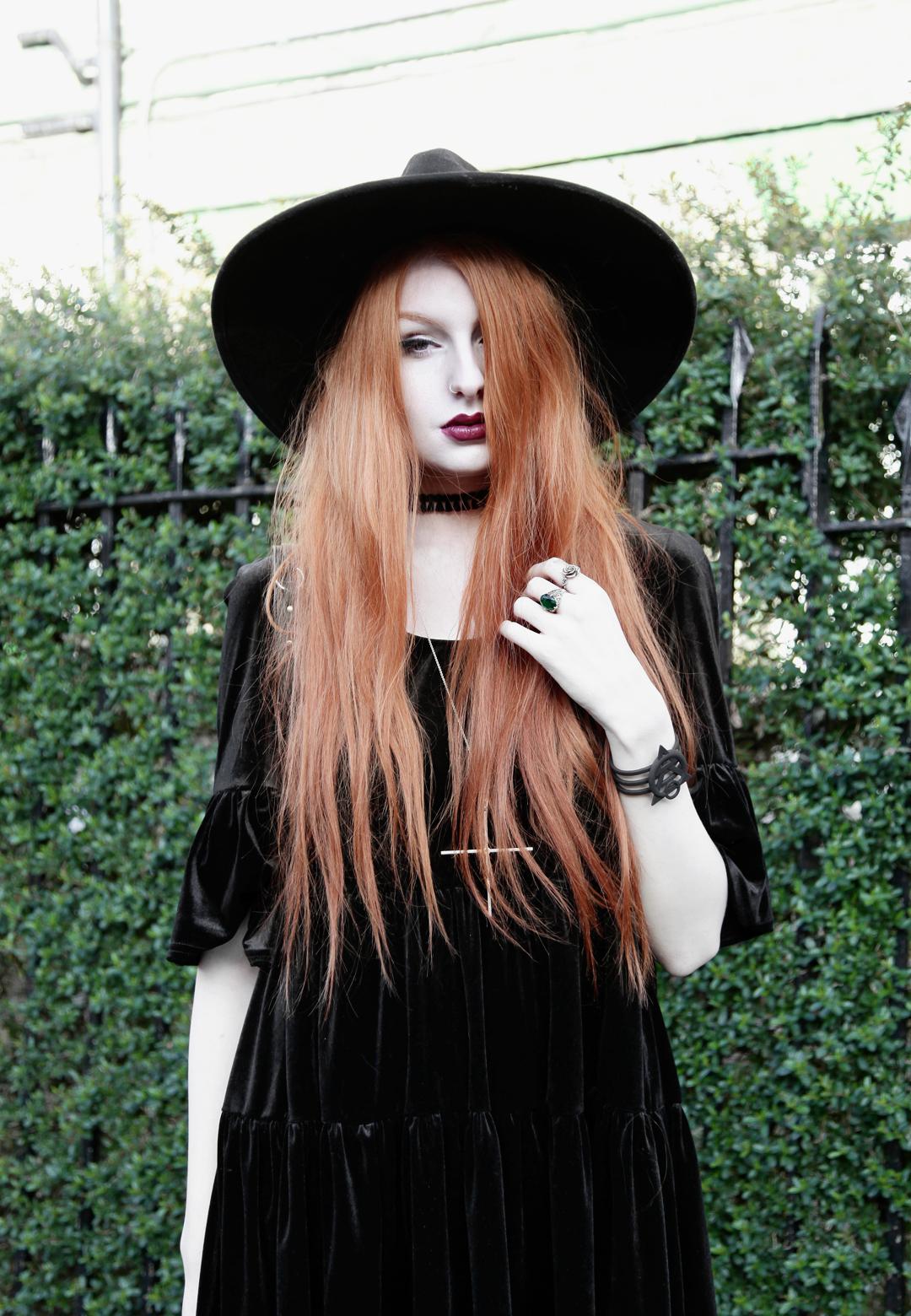 Olivia Emily wears Asos Reclaimed Vintage tiered black velvet dress a78ec16432b
