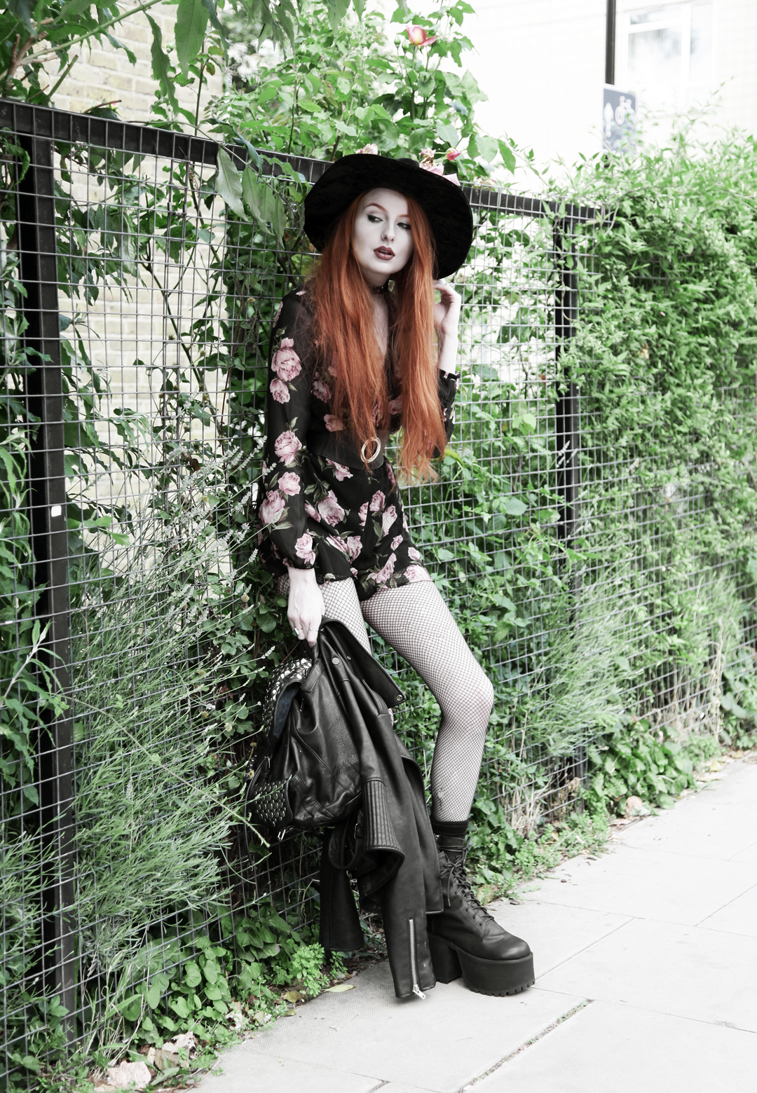 Olivia Emily wears Asos Band Of Gypsies playsuit, Killstar velvet witch brim hat, Unif Scosche boots & Rebecca Minkoff studded backpack