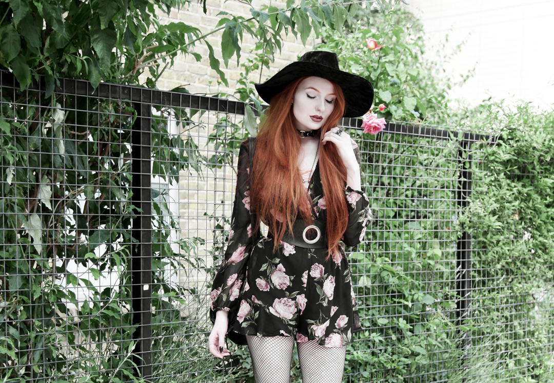 Olivia Emily wears Asos Band Of Gypsies playsuit, Killstar velvet witch brim hat, Zana Bayne Cincher Waist Belt