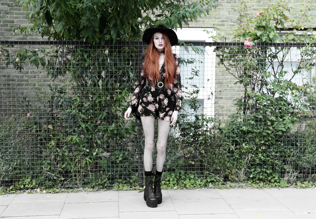 Olivia Emily wears Asos Band Of Gypsies playsuit, Killstar velvet witch brim hat, Zana Bayne Cincher Waist Belt, Unif Scosche boots & Rebecca Minkoff studded backpack