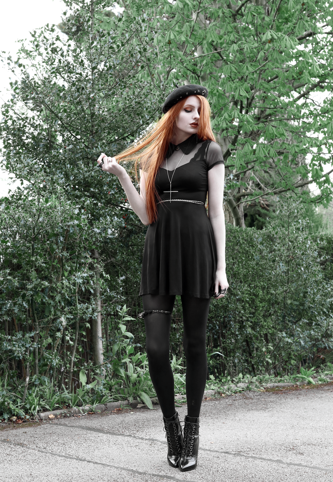 5 olivia emily asos eyelet beret, killstar dana dress, kiki minchin necklace, spiked garter, saint laurent slp ysl booties