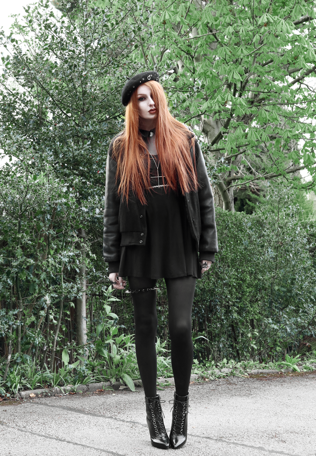 9 olivia emily asos eyelet beret, vintage varsity jacket, killstar dana dress, kiki minchin necklace, spiked garter, saint laurent slp ysl booties
