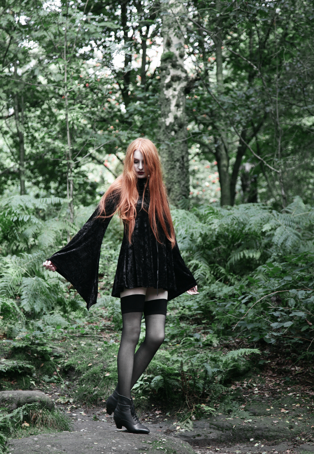 Olivia Emily wears Kilstar Velvet Witch Hood Dress, Over Knee Stockings and Vintage Pointed Boots