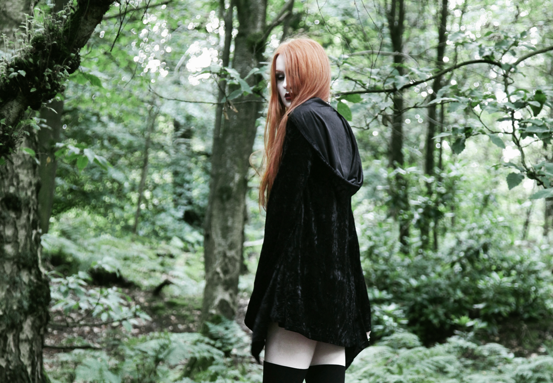 Olivia Emily wears Kilstar Velvet Witch Hood Dress