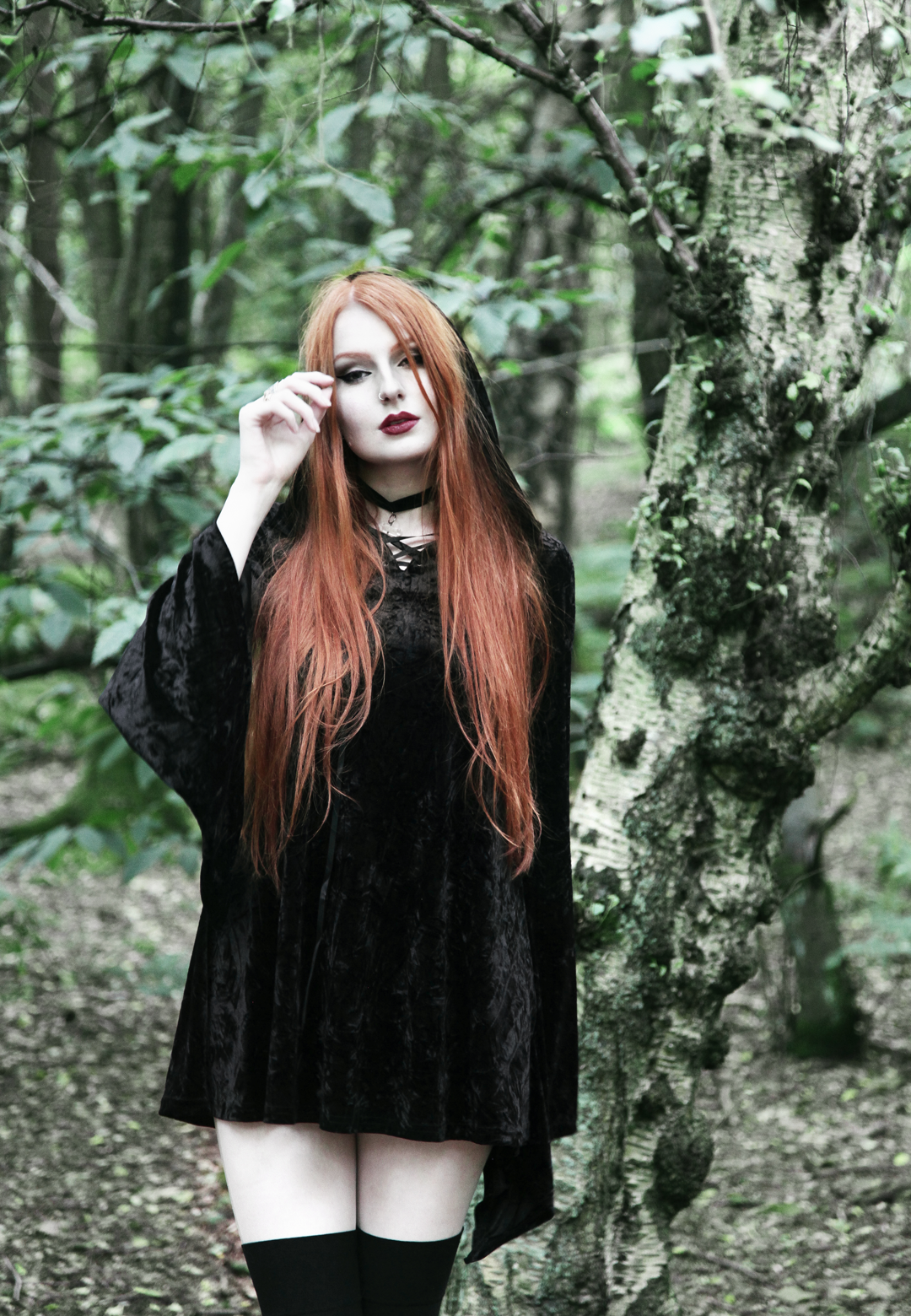Olivia Emily wears Kilstar Velvet Witch Hood Dress and Regalrose Velvet Choker