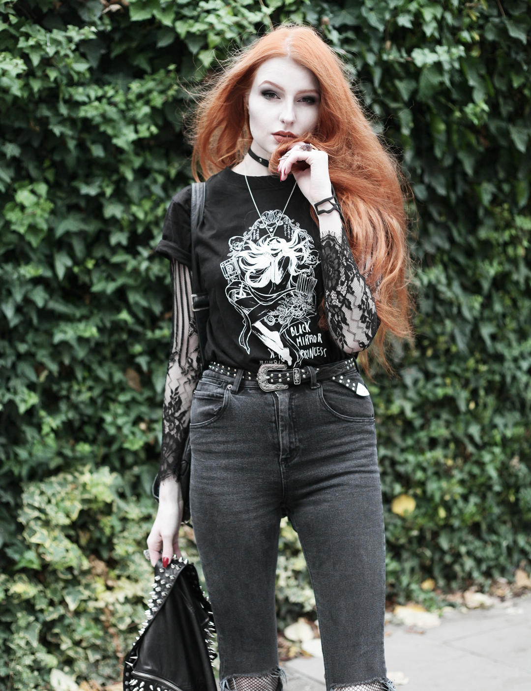 Olivia Emily wears CosQueen Black Mirror Princess Tee, Motel Black Lace Top, Asos Western Belt, Asos High Waisted Ripped Jeans