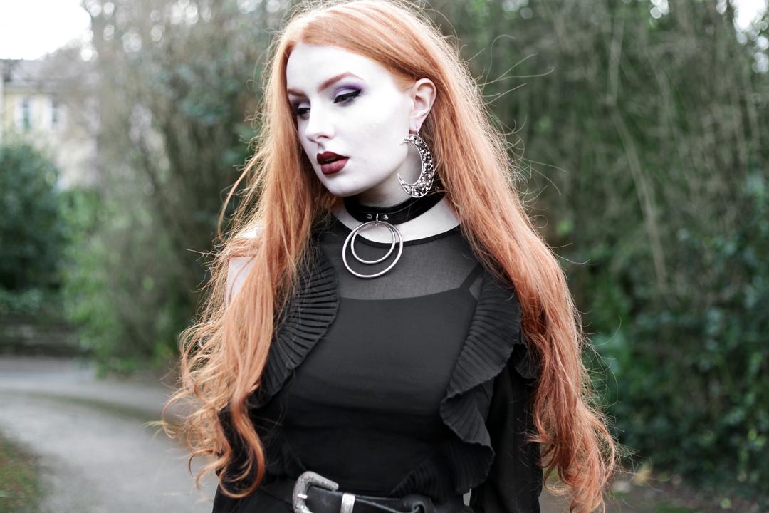 Olivia Emily wears Kat Von D Innerstelar Palette, Lime Crime Saint Velvetine, Asos black ruffle midi dress, Killstar Dita Slave collar choker, Asos western belt