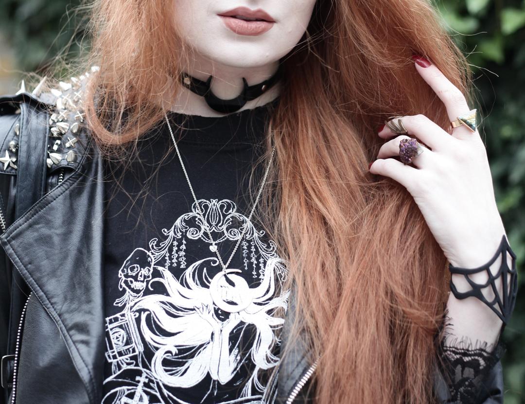 Olivia Emily wears Studded Biker Jacket, La Bohe Mia Moon Choker, CosQueen Black Mirror Princess Tee, Wildinanda Labradorite ring