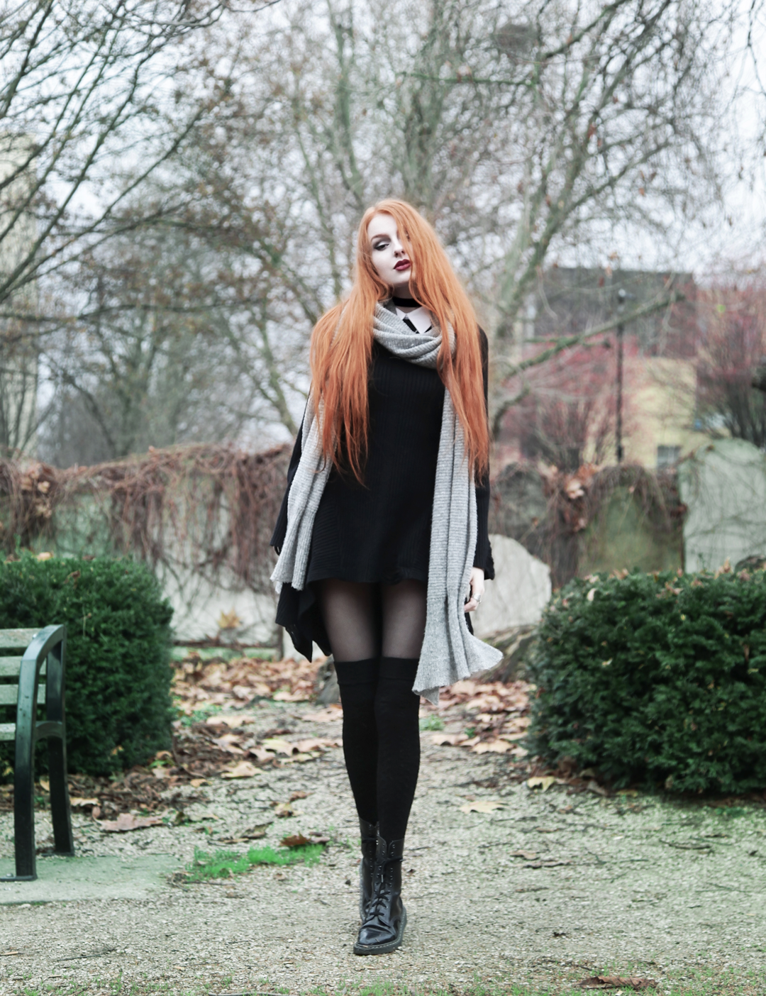 Olivia Emily wears Asos Grey Wool Scarf, L Necklace, Killstar Hellda Knit Dress, Asos Over Knee Socks, Pointed Toe Dr Martens