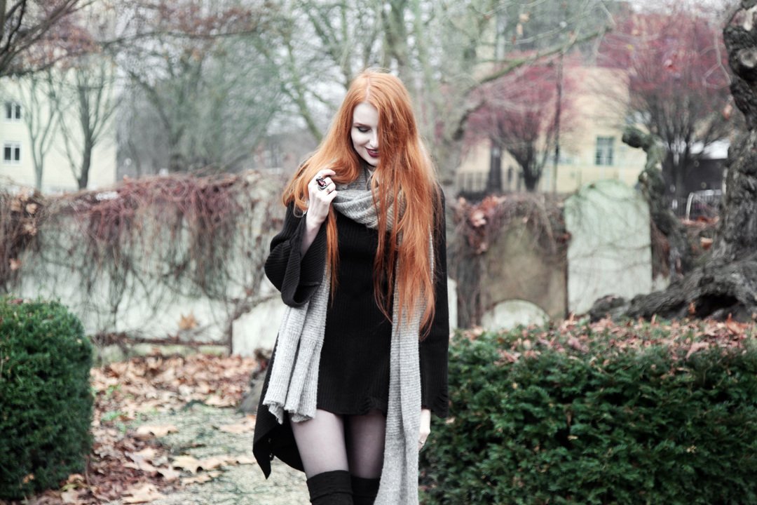 Olivia Emily wears Asos Grey Wool Scarf, L Necklace, Killstar Hellda Knit Dress, Asos Over Knee Socks
