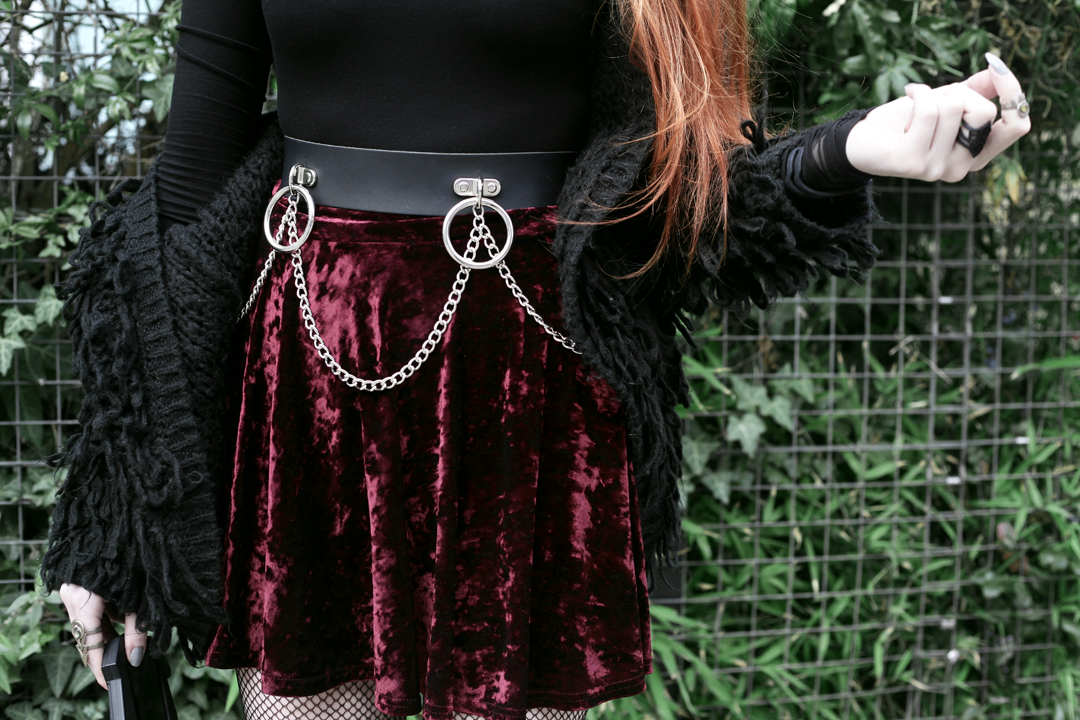 Olivia Emily wears Rogue and Wolf Moondoll Top, Crushed Velvet skirt and Mary Wyatt Chain Belt