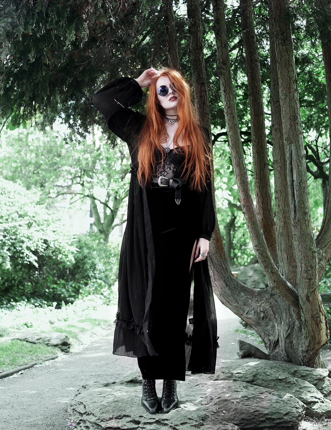 Seasonal Layers - Olivia Emily wears Topshop Sunglasses, Religion Maxi Dress, House of Widow Lace Baque, Asos Western Belt, Boohoo Velvet Maxi Skirt, Asos pointed Boots