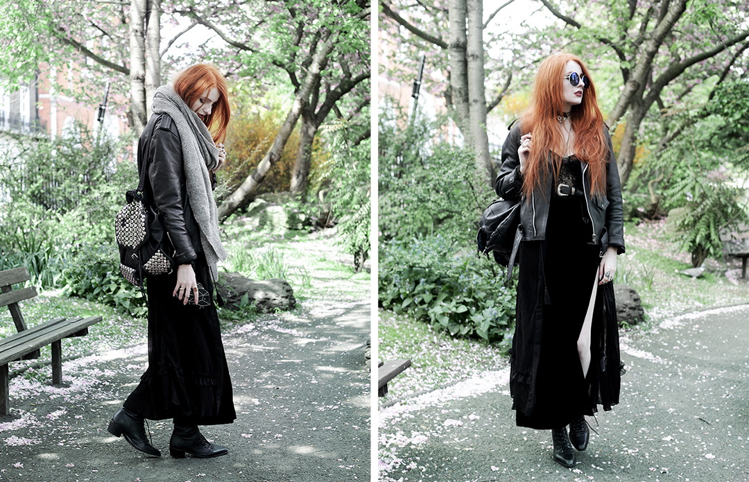 Transitional Layers - Olivia Emily wears Religion Maxi Dress, House of Widow Lace Baque, Asos Western Belt, Boohoo Velvet Skirt, Asos pointed Boots, Asos grey knit scarf, Secondhand Biker Jacket and Topshop Sunglasses