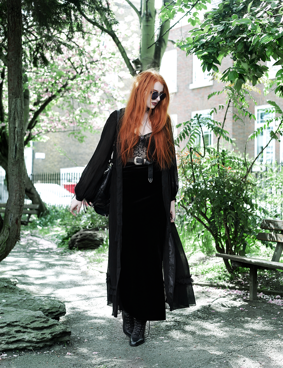 Seasonal Layers - Olivia Emily wears Topshop Sunglasses, Religion Maxi Dress, House of Widow Lace Baque, Asos Western Belt, Boohoo Velvet Skirt, Asos pointed Boots