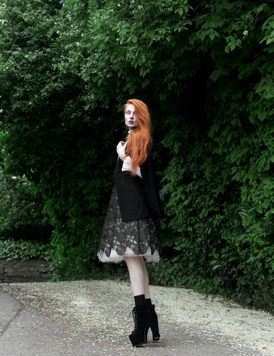 Olivia Emily Pale Outfit with Black Wool Cape, Tulle Midi Skirt & Plain Studios Blouse