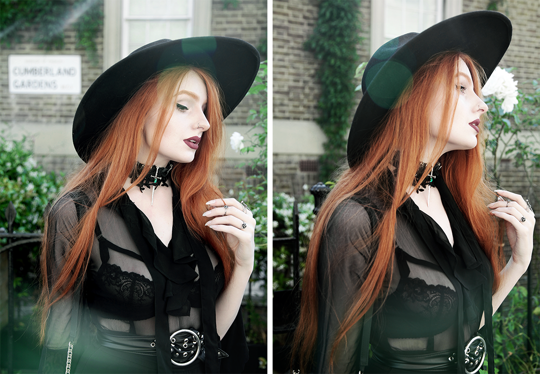 Olivia Emily wears Killstar Witch Brim Hat, Killstar Decay Nu-Mourning dress, Pheren Couture Sword Choker, Asos Eyelet Waist Belt and House of Need Sword Ring