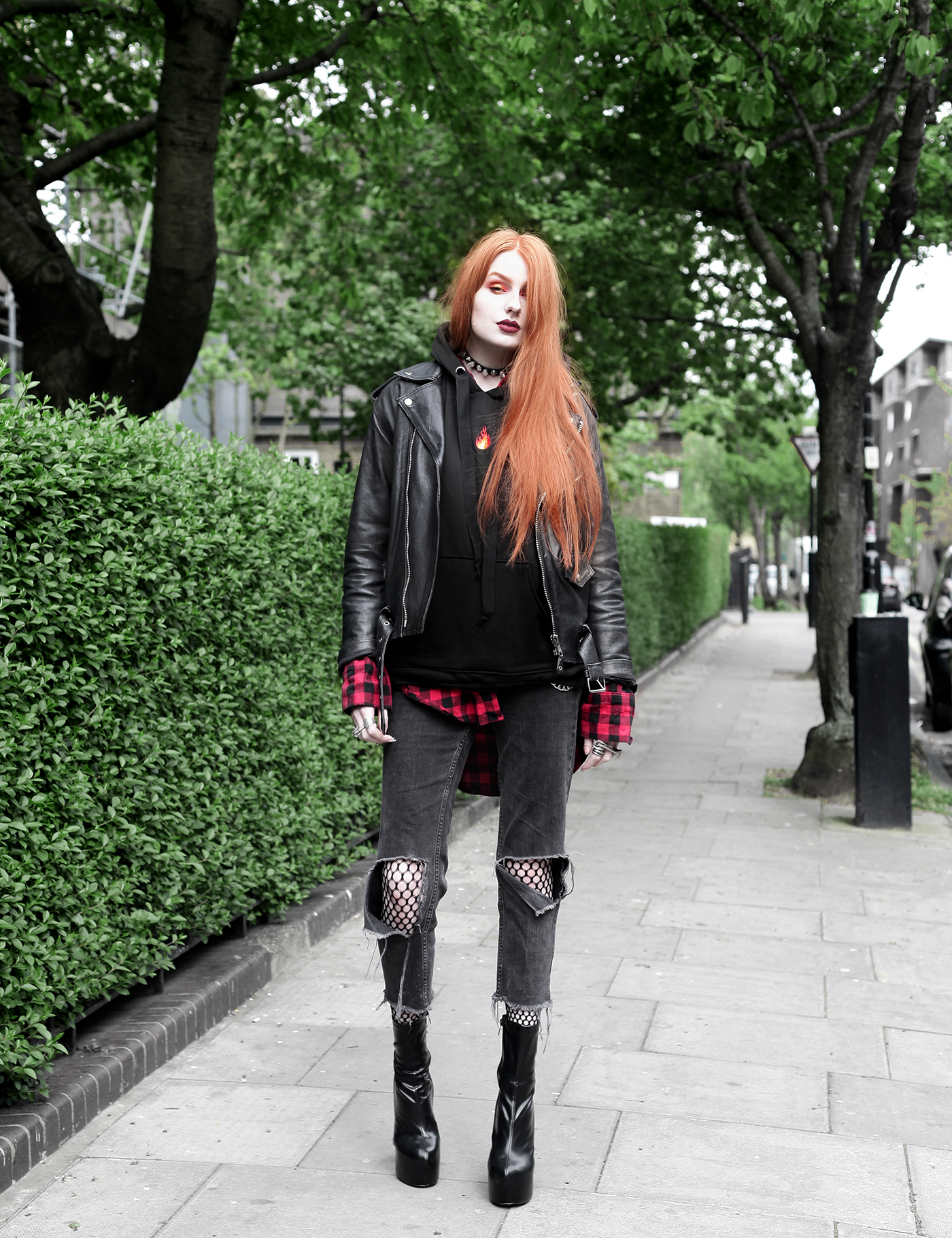Dressed Up Casual - Olivia Emily wears Adolescent Clothing Fire Emoji Hoodie, Red Plaid Shirt, Asos Ripped Jeans, and Public Desire Platform Boots