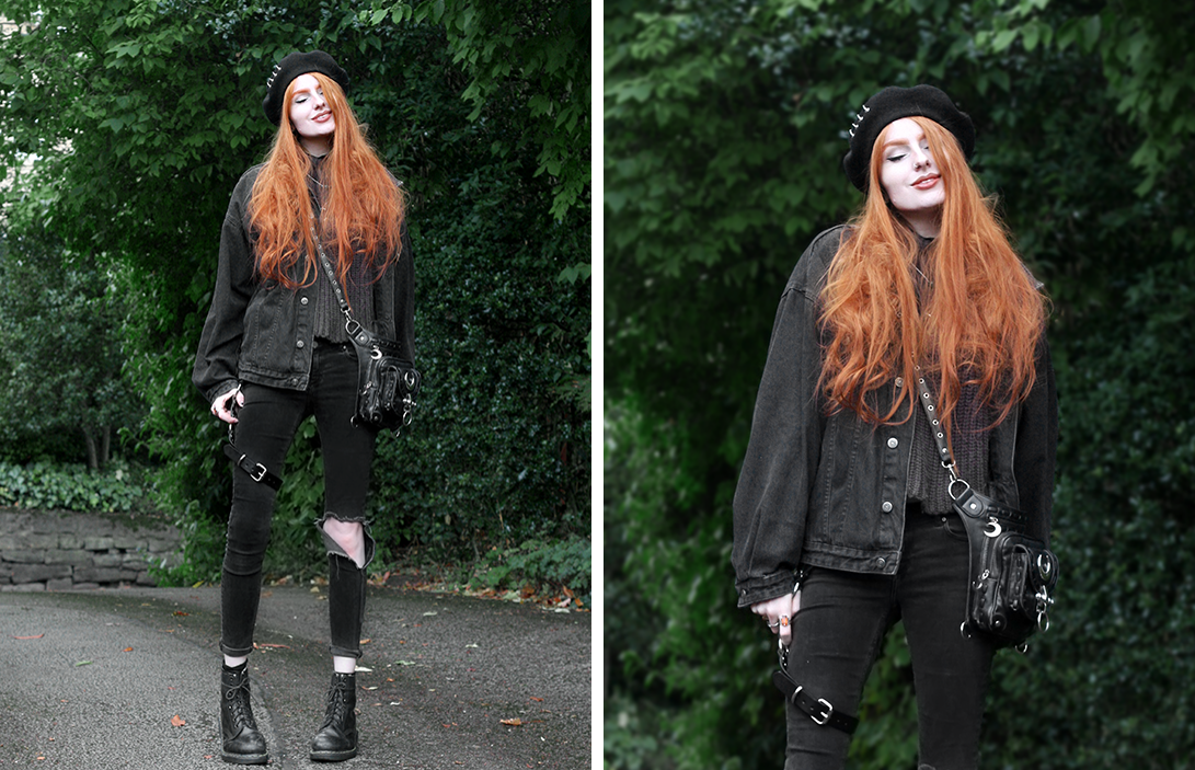 Hello 2018 - Olivia Emily wears Shikumi Beret, Asos Black Denim Jacket, Current Mood High Neck Jumper, Asos Ridley Ripped Jeans, Dolls Kill Leg Harness and Dr Martens 1460 Docs