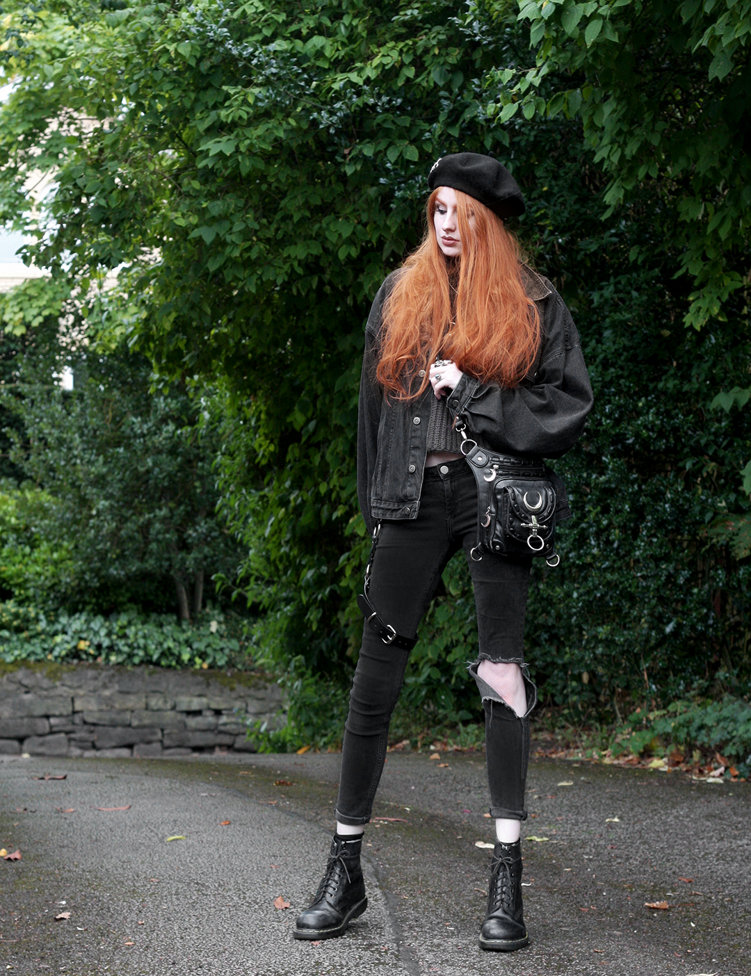 Double Denim - Olivia Emily wears Shikumi Beret, Asos Black Denim Jacket, Asos Ridley Ripped Jeans, Restyle Moon Bag, Dolls Kill Leg Harness and Dr Martens 1460 Docs