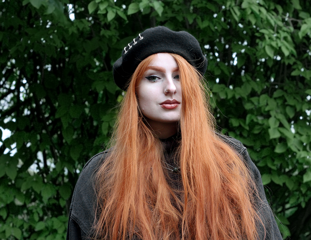 Olivia Emily wears Shikumi Beret, Asos Black Denim Jacket and Current Mood High Neck Jumper