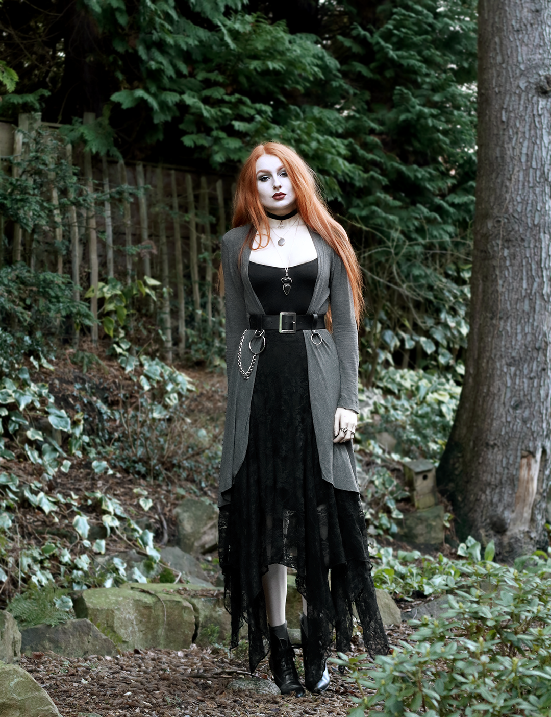 Olivia Emily - Layers of Drapey Fabric. Outfit featuring Corvus Corone Lace Skirt, Grey Jersey Long Cardigan, Asos Chain Belt, and Vintage Pointed Boots