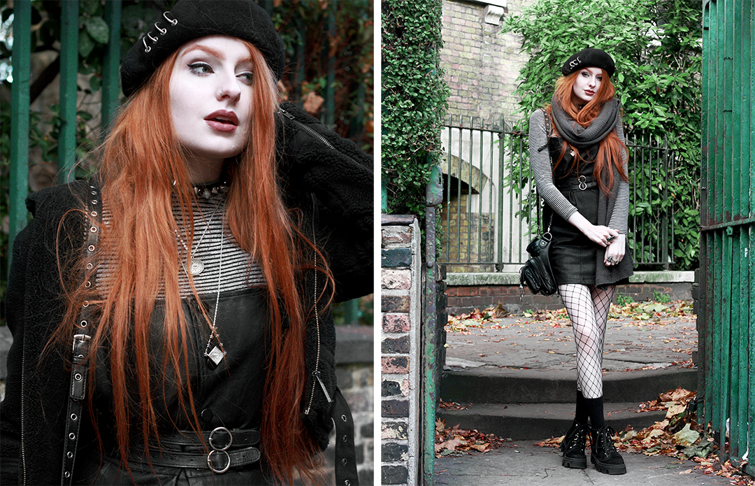 Olivia Emily - Dungaree dress and beret styling
